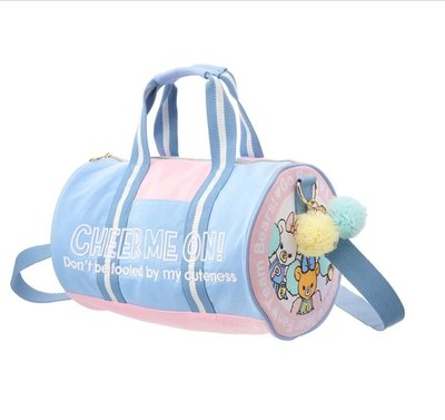 日本 迪士尼 米妮 大學熊 運動 包包 行李袋 圓桶包 斜背包 m 粉紅 藍 cheer up