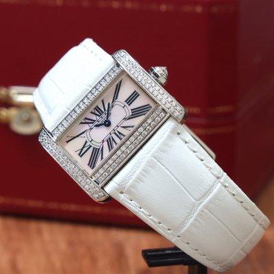 CARTIER 卡地亞 Tank Divan 沙發 2599 粉色貝殼面盤 錶殼精鑲鑽石 石英款