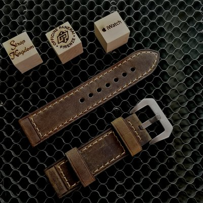 Dark Brown Vintage Leather Strap 手造油蠟皮 深棕色(合PANERAI,APPLE WATCH用) 24MM代用錶帶