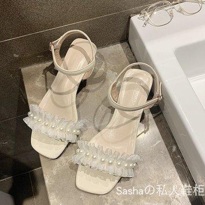 ()一字帶涼鞋女2020新款新款百搭仙女風晚晚鞋新高跟網紅珍珠涼鞋女ins潮MK-036
