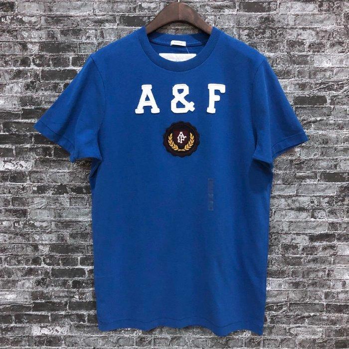 Maple麋鹿小舖 Abercrombie&Fitch * AF  寶藍色貼布字母電繡徽章短T * ( 現貨M號 )