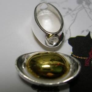 琥珀貓~【925純銀材料配件】造型珠~N9737款~金銀雙色元寶~15mm~一個