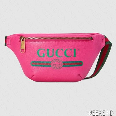 【WEEKEND】 GUCCI Logo Print Small 小款 皮革 肩背包 斜背包 腰包 粉色 527792