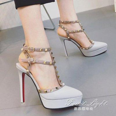 高跟鞋女鉚釘尖頭細跟單鞋百搭包頭羅馬涼鞋