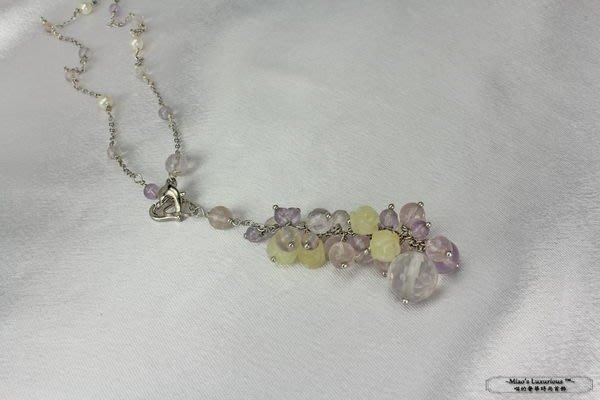 超細緻純手工-優雅天然黃玉玫瑰花天然淡水珍珠粉晶彩寶Y字鍊-短項鍊-限量一件作品