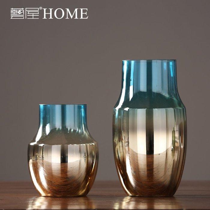 #創意 裝飾品 居家現代簡約電鍍炫彩玻璃花瓶擺件 創意客廳電視柜餐桌水培插花花器