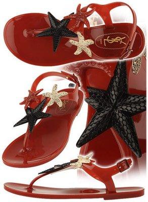 YSL Yves Saint Laurent 287181 Starfish Sandles海星夾腳涼鞋orange橘紅 36/37