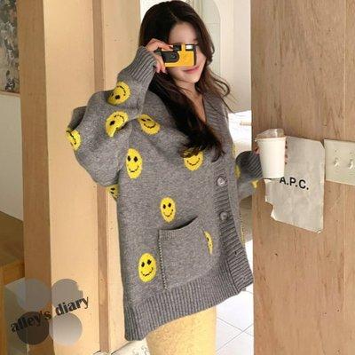 甜美印象笑臉V領長版針織外套*正韓 韓國空運*艾莉韓衣 alley's diary!ad20112012