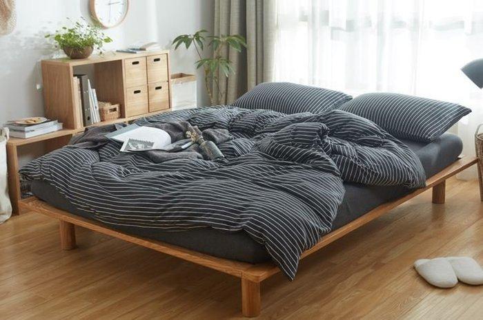 純棉親膚裸睡專用床包組(黑白條紋) 床包 床單 枕頭套 枕頭 床 棉被 被套 寢具 裸睡 純棉 床包組 拖鞋 室內拖鞋