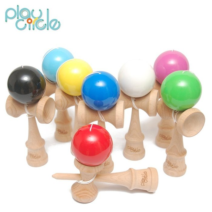 Play Circle 劍玉 劍球Kendama 彈性亮漆 贈腰掛包&收納袋