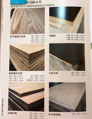 松木曲花合板、芬蘭板、歐洲華木合板、竹炭夾板、紅膠夾板、松木拼接板