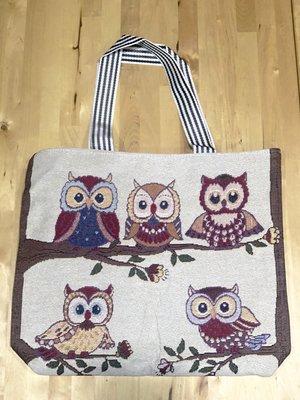 貓頭鷹針織手提單肩包 民俗風 個性 兩用包 購物環保袋 袋口有拉鍊 內有一個小暗袋