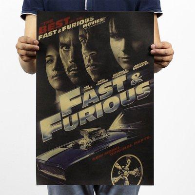 [現貨]玩命關頭4 Fast & Furious 經典人物 電影海報 酒吧 臥室宿舍客廳牆畫裝飾畫 復古牛皮紙咖啡廳
