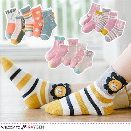 八號倉庫 【2H010M831】兒童多款童趣卡通動物襪 短襪 中筒襪 5雙/組