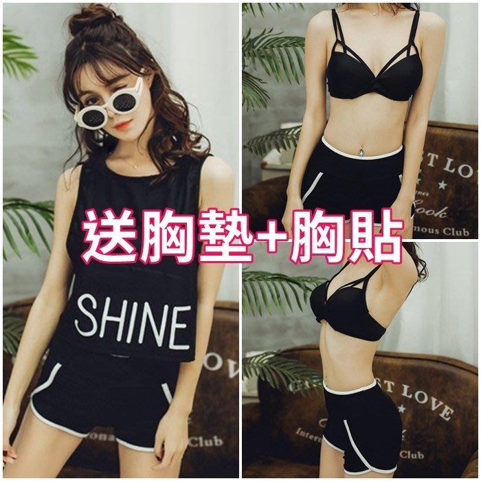 可下水 運動 泳衣❤韓國 三件式 比基尼 泳裝 bikini 歐美大尺碼鋼圈罩衫多件式保守遮肚顯瘦溫泉女生連身黑色小胸