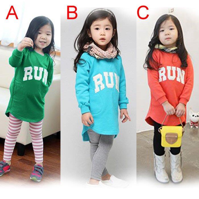 韓版《英文字母RUN》長版 長袖上衣 (J4-5)