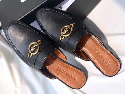 COACH 蔻馳 金屬裝飾 尖頭 穆勒拖鞋 真皮 平底懶人鞋