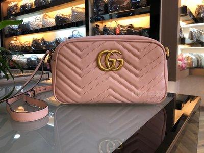 ::MINI名牌精品店:: Gucci 447632  Marmont 馬夢 中款 相機包 櫻花粉 24公分 95新