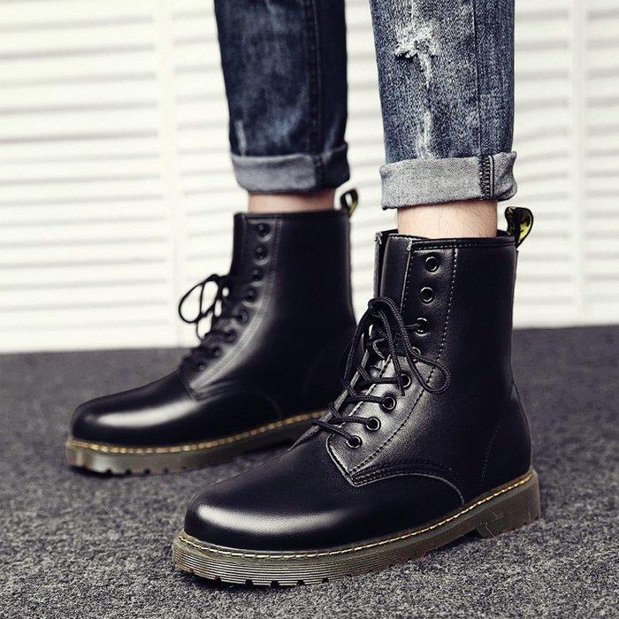 西柚姑娘雜貨鋪☛熱賣中#馬丁靴男潮冬季新款英倫風復古皮靴子短靴高幫工裝中筒馬丁鞋