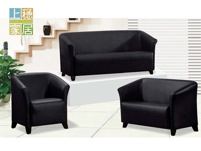 〈上穩家居〉簡約型透氣皮黑色沙發組(3+2+1) 沙發組 單人沙發 雙人沙發 三人沙發 黑色沙發 9414A18805