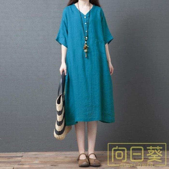 大碼洋裝 2019夏季新款韓版寬鬆大碼女裝時尚V領中長款棉麻短袖洋裝顯瘦