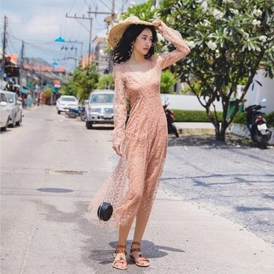 洋裝 長袖 連身 裙-星星刺繡深V網紗女連衣裙2款73ye13[獨家進口][米蘭精品]