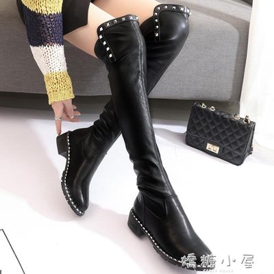 過膝靴子女長靴秋冬季新款高筒靴平底粗跟彈力靴瘦瘦長筒靴女