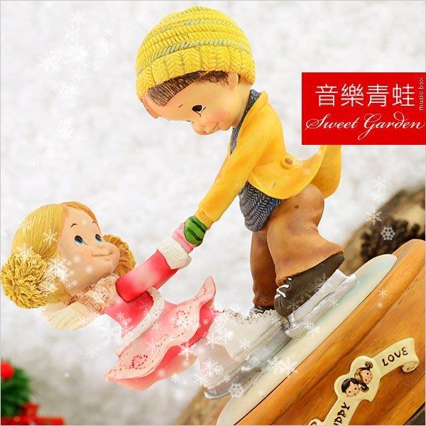 Sweet Garden, 送男女朋友 聖誕禮物 戀愛系列 純純的愛戀 甜蜜可愛男孩女孩溜冰旋轉音樂盒(免運)