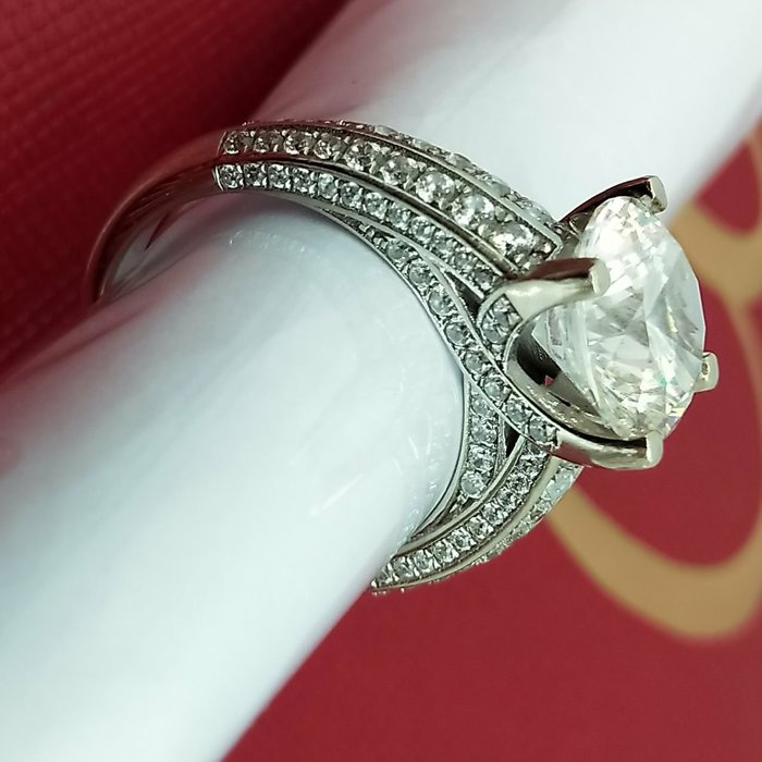 鑽戒2克拉高檔925純銀鍍白金不退色爪鑲高碳仿真鑽戒 超閃單碳原子鑽 求婚 結婚 情人節禮物 鑽石  莫桑鑽寶熱賣促銷