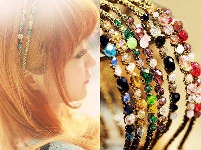 『現貨』撞色超閃多彩不規則水晶串珠髮箍【YB0004】- 崔可小姐