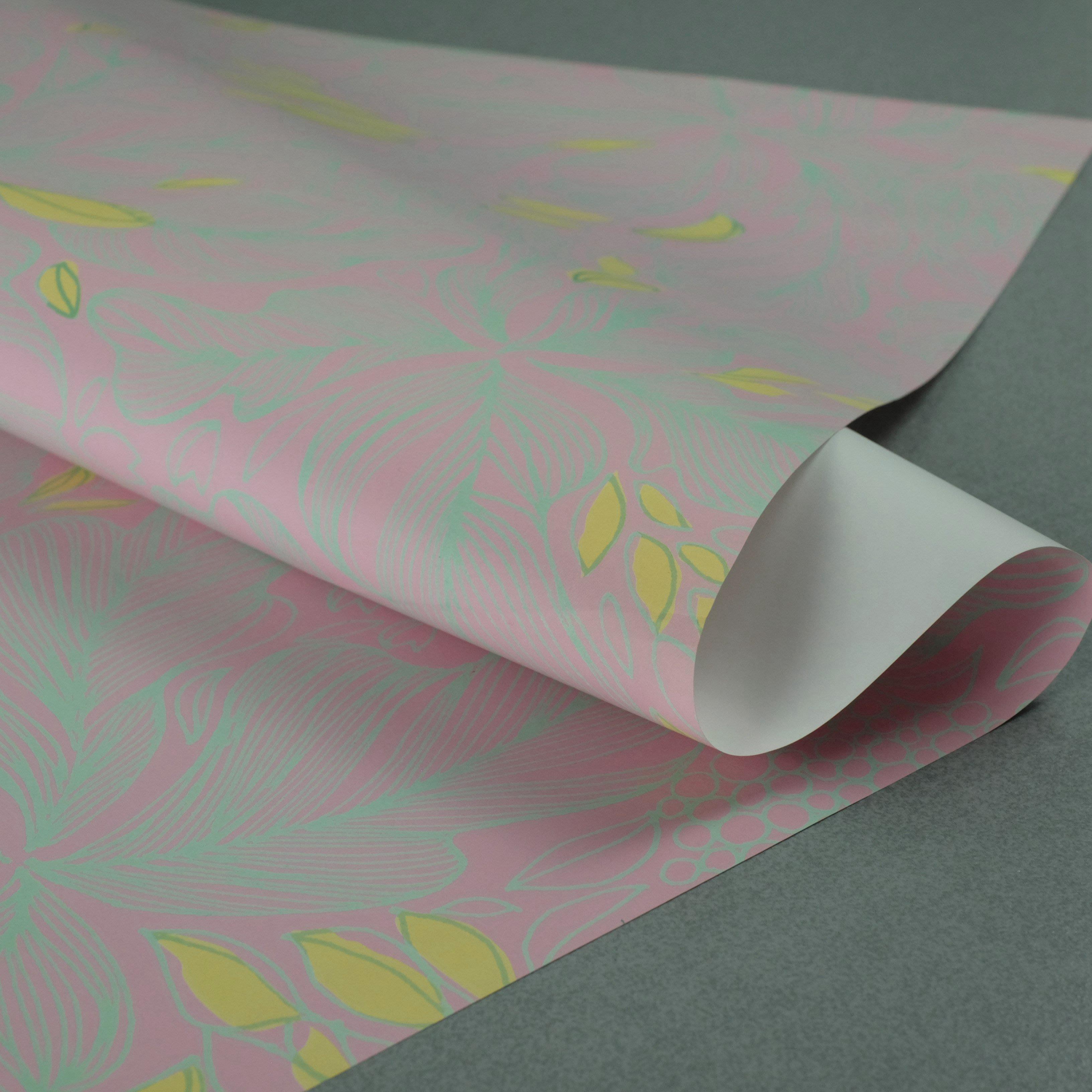 歐美風復古手繪花紋禮品紙黑色粉色INS禮物盒包裝女神生日質感