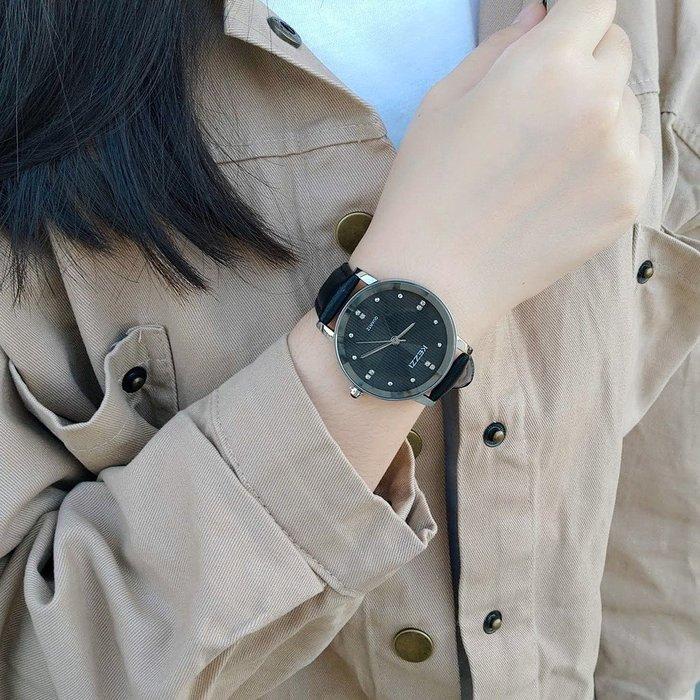 【KEZZI珂紫】韓港流行 12整點鑲鑽 高貴氣質錶 時尚流行 日本機芯皮質表帶【超低價↘送電池】K1552G