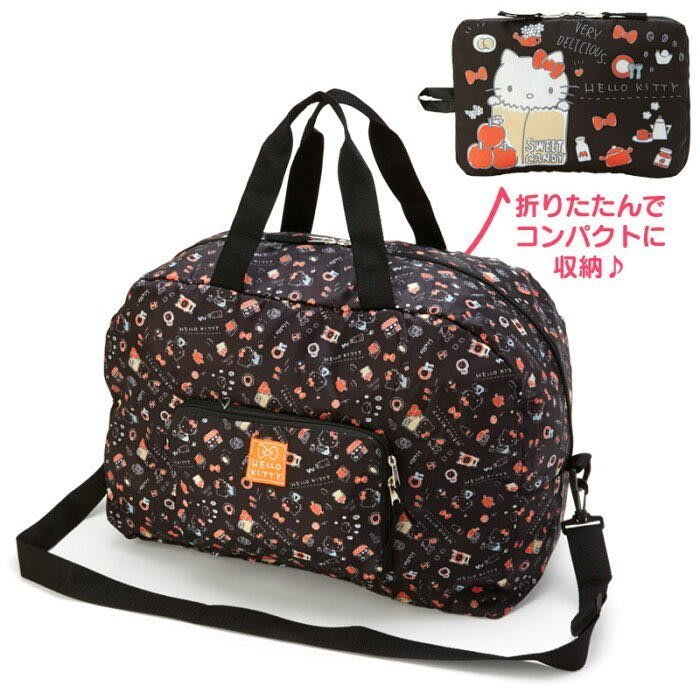 日本正版 Hello Kitty禮物系列  可折疊尼龍行李袋 可放行李箱拉桿旅行袋 側背袋