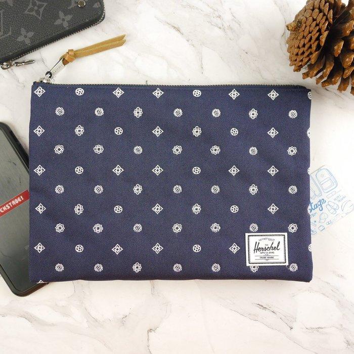 KS▸HERSCHEL NETWORK POUCH 深藍 白色 刺繡 手拿包 收納袋【10287EM-01607】