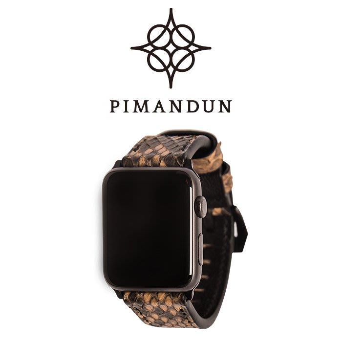 【皮曼頓】Apple Watch大鱗蟒蛇皮-正棕黃 手工皮革錶帶 蘋果手錶 38 40 42 44mm 1234代