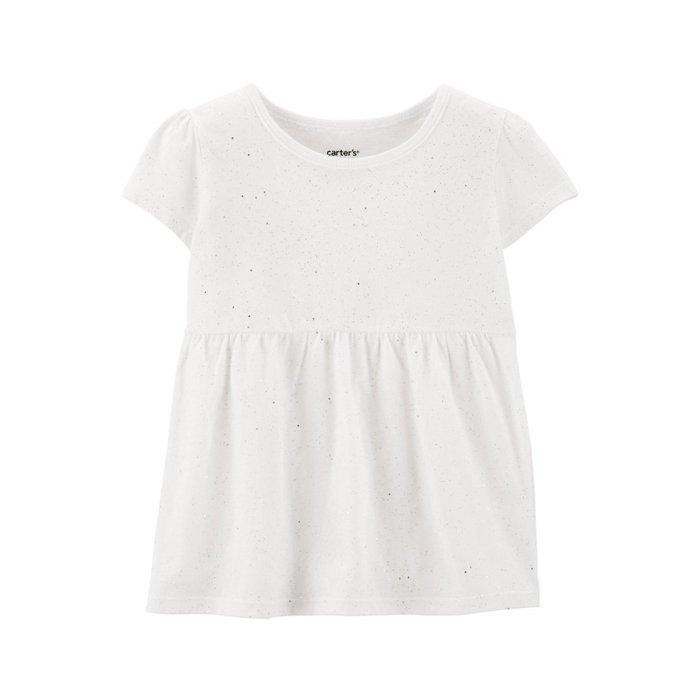 【Carter's】CS女童短袖金亮粉款 白 F03190830-06