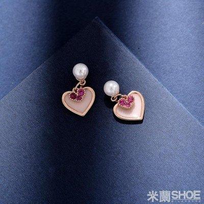耳飾  耳環 925銀針粉色少女心ins女韓國時尚百搭愛心耳墜甜美氣質 全店免運