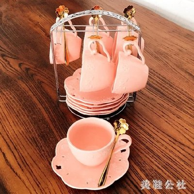 歐式陶瓷咖啡杯糖果色簡約杯碟咖啡杯套裝浮雕蕾絲蝴蝶夫人zzy8061
