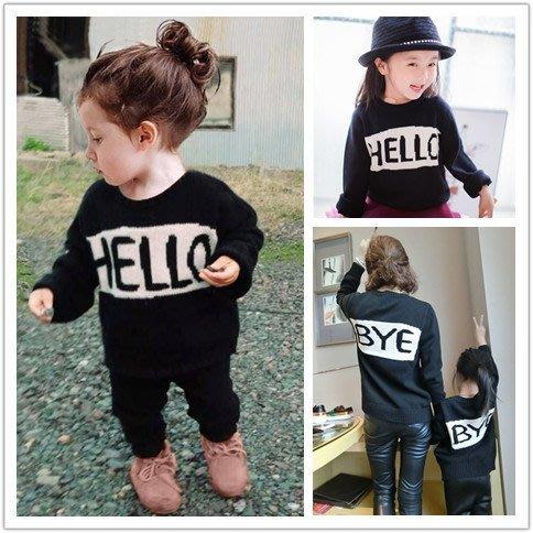【小阿霏】成人款 親子裝家庭裝 簡約字母黑色純棉毛衣 針織衫寬鬆圓領上衣個性母女母子裝FA40