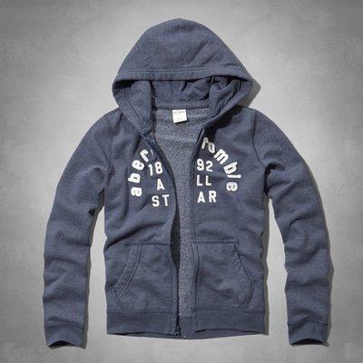 Maple麋鹿小舖 abercrombie&fitch * a&f 男童款藍色電繡貼布連帽外套*( 現貨XL號 )