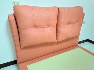 鴻宇傢俱~飯店型大靠枕貓抓皮5尺雙人床頭片~客訂款~橘色~另有6尺及3.5尺可訂製~促銷優惠價~