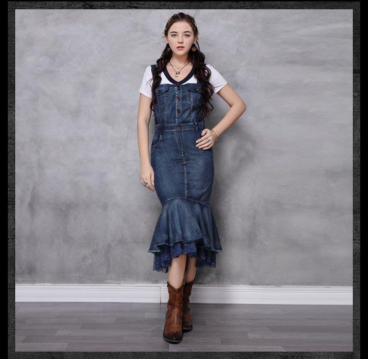 ♥ 裁縫師公主 ♥背帶荷葉邊下擺拼接蕾絲牛仔魚尾連身裙