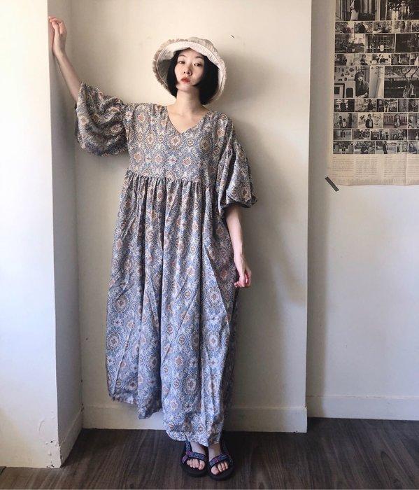 SeyeS  古著時尚超美民族風圖騰燈籠袖設計感洋裝