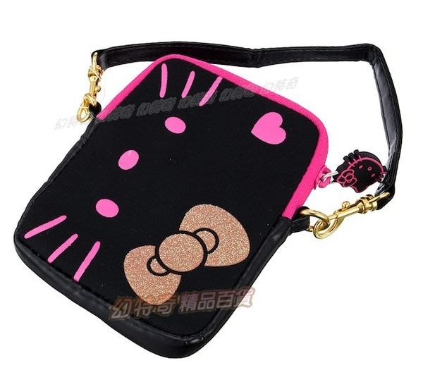 歐美限定Hello Kitty正版愛心(黑)隨身提袋iphone手機袋化妝包176737 零錢包 鑰匙包