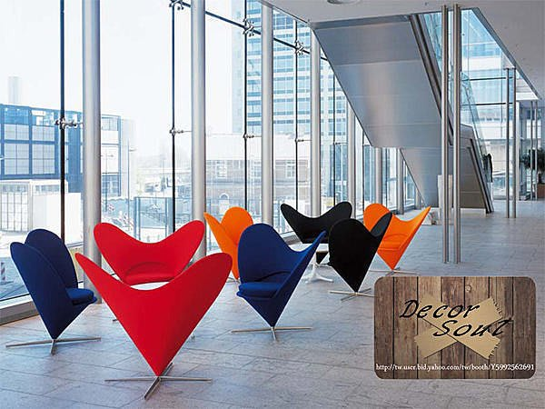 DS北歐家飾§設計復刻Heart cone chair 大愛心型椅 單椅 絨布小沙發 躺椅 時尚休閒椅 造型創意