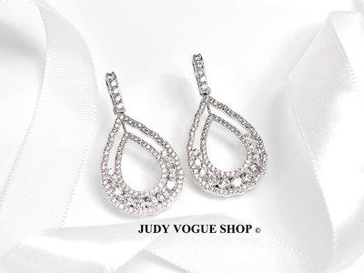 韓國 耳環 層次水滴造型耳環 優雅時尚 施華洛世奇耳環 JUDY VOGUE SHOP【JES-0017】