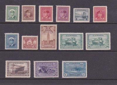 【雲品】加拿大Canada 1942 Sc 249-262 set MH