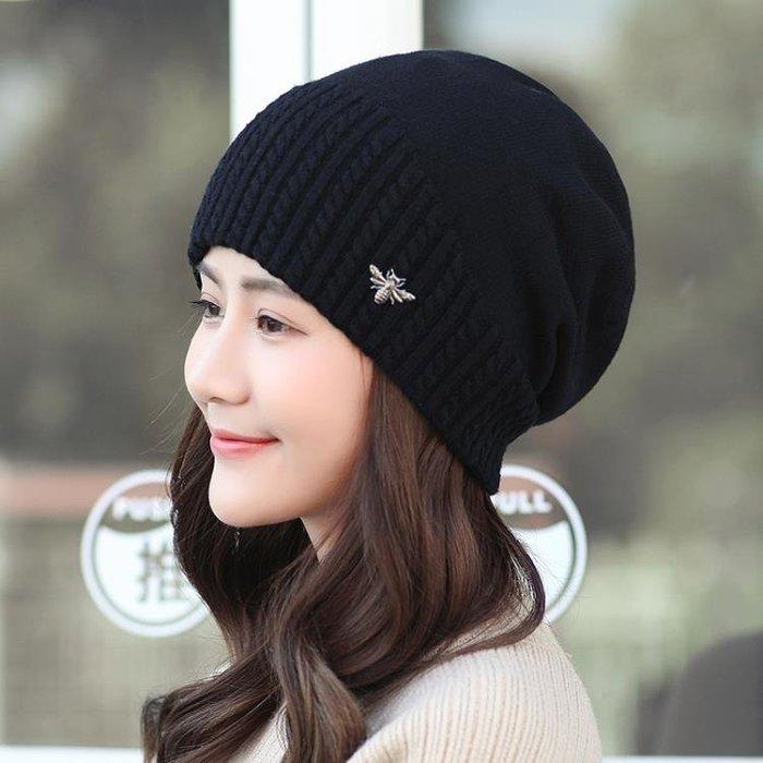 月子帽 帽子女冬針織帽保暖毛線帽秋冬季韓版護耳時尚韓國百搭套頭月子帽