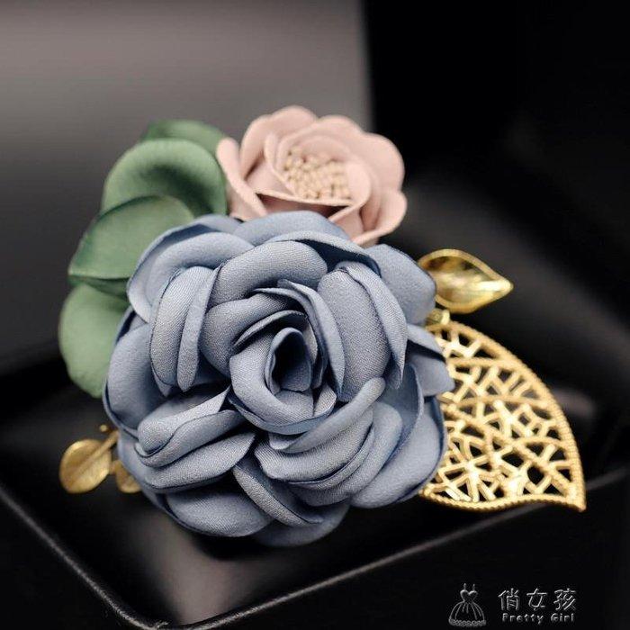 韓國仿真花朵胸針時尚配飾品山茶花布藝胸花開衫別針扣H0130 【HOLIDAY】