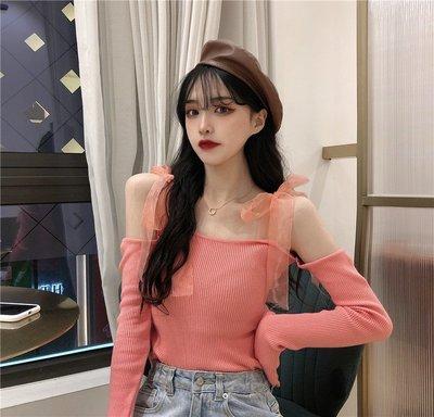 Corle韓國女裝鎖骨一字肩紗上衣2021春款正韓高端甜美超仙性感拼接針織打底衫女